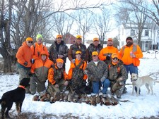 L to R Tom, Bob, Travis Yake Jr., Joe, Glen Yake Jr., Jim, Greg, Front Row: Tim, Gary, Tyler, Darryl, Brad on their 2007 pheasant hunt.